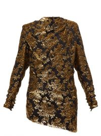 SAINT LAURENT Tie-back floral tinsel-devoré mini dress in black ~ evening glamour