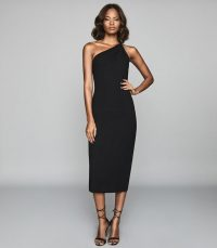 REISS TINA TWIST SHOULDER CREPE DRESS BLACK ~ classic lbd ~ cocktail hour