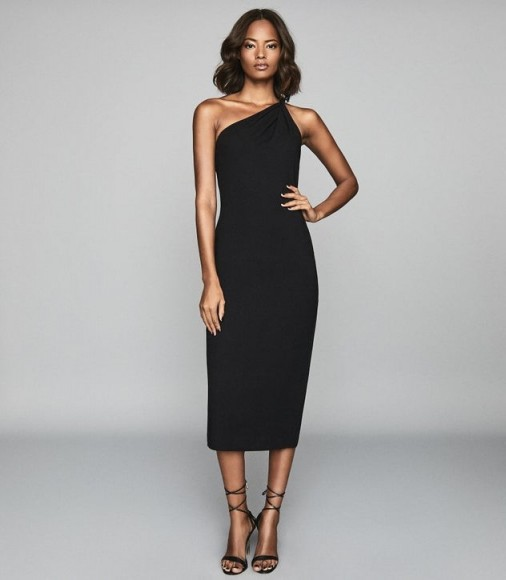 REISS TINA TWIST SHOULDER CREPE DRESS BLACK ~ classic lbd ~ cocktail hour
