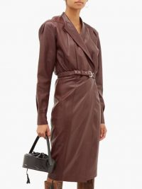 DODO BAR OR Tony belted burgundy-leather wrap dress