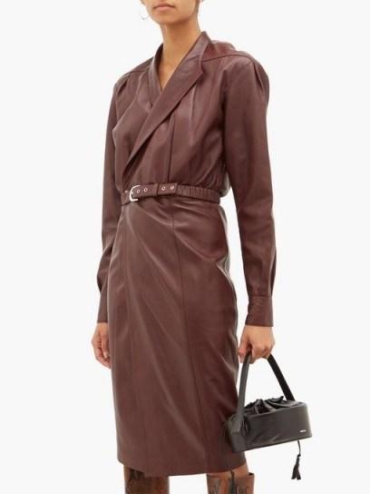 DODO BAR OR Tony belted burgundy-leather wrap dress - flipped