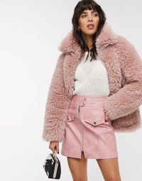 Topshop borg jacket in pink / chunky winter jackets