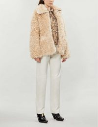 TOPSHOP Jonas spread-collar faux-fur jacket in cream / textured winter jackets
