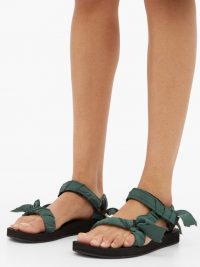 ARIZONA LOVE Trekky green satin-wrapped velcro-strap sandals / strappy flats