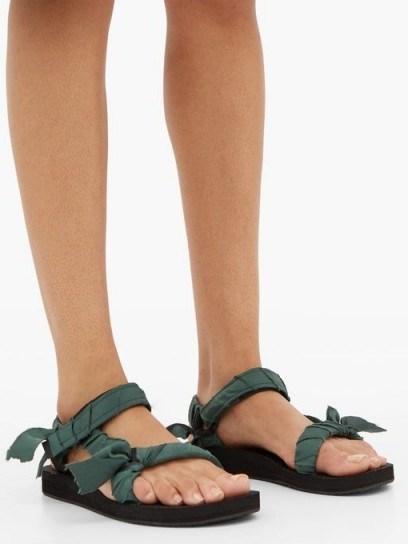 ARIZONA LOVE Trekky green satin-wrapped velcro-strap sandals / strappy flats - flipped
