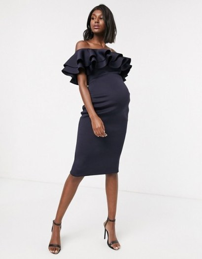 True Violet Maternity bardot midi dress with double frill in navy | off the shoulder occasion dresses | glamorous pregnancy evening fashion - flipped