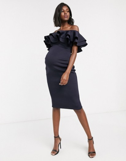 True Violet Maternity bardot midi dress with double frill in navy | off the shoulder occasion dresses | glamorous pregnancy evening fashion