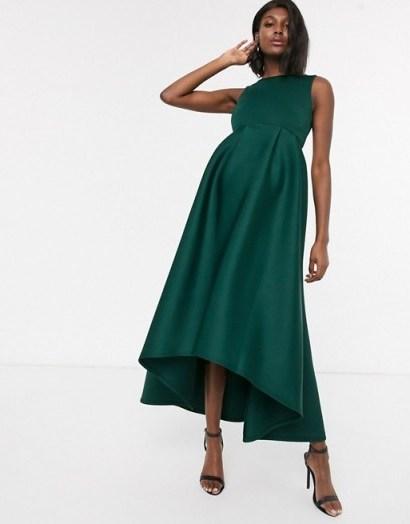 True Violet Maternity midi prom dress with hi low hem in emerald | celebration pregnancy wear - flipped