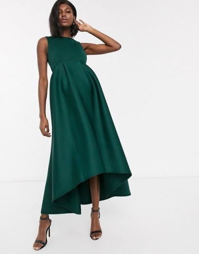 True Violet Maternity midi prom dress with hi low hem in emerald | celebration pregnancy wear