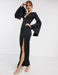 True Violet maxi dress with cape sleeve in Black | plunging occasion dresses | dramatic evening look