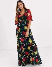 Twisted Wunder printed maxi tea dress in multi floral with contrast sleeves | vintage look fabrics | 70s style dresses