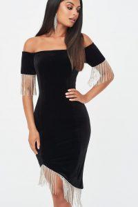 LAVISH ALICE velvet and diamante bardot midi dress in black – lbd – glamour