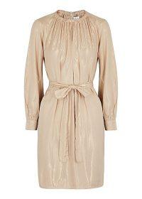 VELVET BY GRAHAM & SPENCER Dasha sand lamé mini dress / metallic tie waist dresses