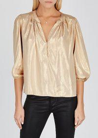 VELVET BY GRAHAM & SPENCER Linette cream metallic-weave blouse / shiny luxe-style blouses