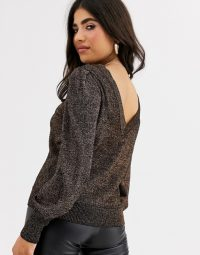 Vila Petite metallic jumper with balloon sleeves in black shimmer | glamorous V-back sweater