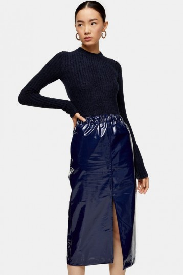 Topshop Boutique Vinyl Pencil Skirt in Navy Blue | high shine skirts