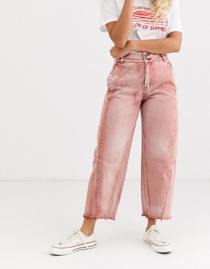 We The Free by Free People Monrow mom jeans in red | coloured denim
