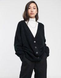 Weekday Nylah cardigan in black | slouchy cardi | oversized drop shoulder cardigans