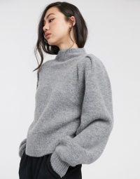 Weekday Sadie sweater in grey | high neck puffed shoulder jumper