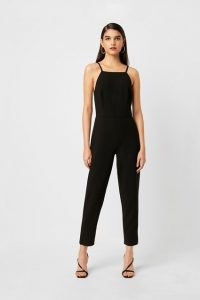 French Connection WHISPER SQUARE NECK TAPERED LEG JUMPSUIT Black ~ chic evening jumpsuits