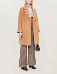 WHISTLES Mara wool-blend cocoon coat in tan