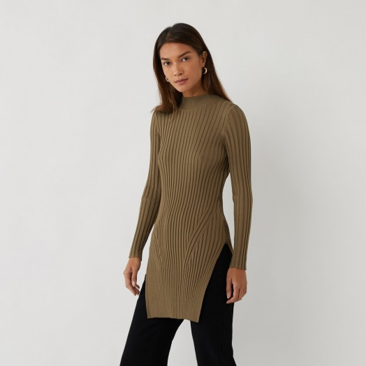 Warehouse WIDE RIBBED KNITTED TUNIC in KHAKI