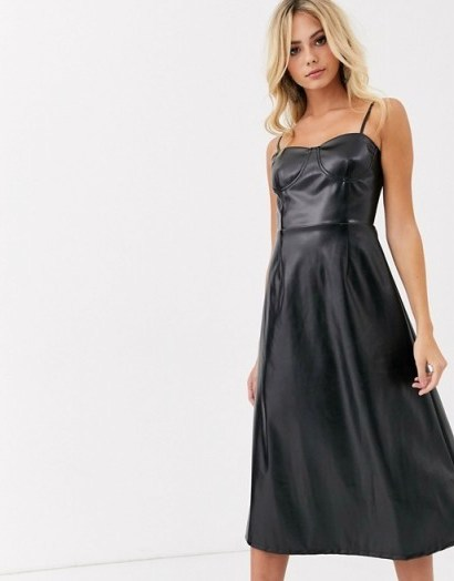 Wild Honey a-line cami midi dress in black faux leather | strappy fit and flare - flipped