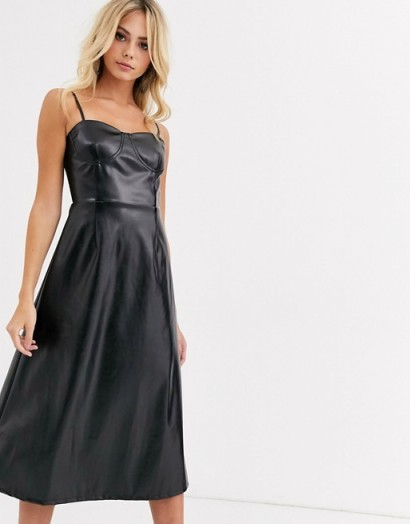 Wild Honey a-line cami midi dress in black faux leather | strappy fit and flare