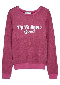 WILDFOX Snow Good brushed jersey sweatshirt in raspberry / winter slogan tops