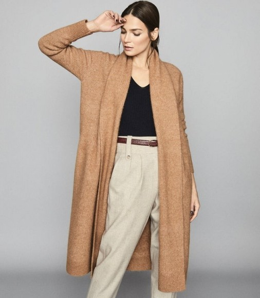 REISS WILLOW LONGLINE RIBBED KNIT CARDIGAN CAMEL ~ classic long cardigans ~ essential knitwear