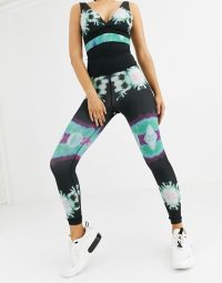Wolf & Whistle tie dye leggings in black / sports pants