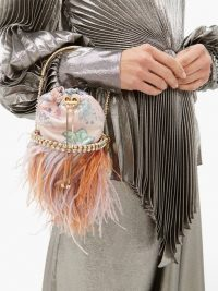 ROSANTICA BY MICHELA PANERO X Peter Pilotto Viola crystal and feather clutch in pink ~ feminine event bags