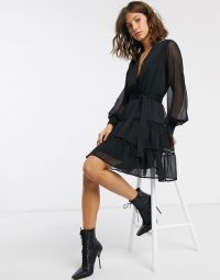 Y.A.S skater dress with lace insert and sheer sleeves in black spot | wrap style fit and flare | LBD