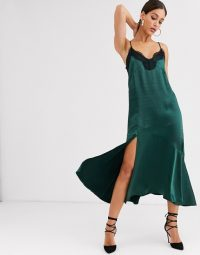 Y.A.S Tall satin midi slip dress with lace trim and side split in emerald | green slit cami frock