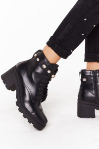 NASTY GAL A Little Extra Faux Leather Diamante Boots