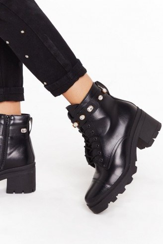 NASTY GAL A Little Extra Faux Leather Diamante Boots - flipped