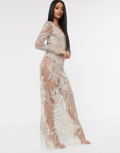 A Star Is Born exclusive embellished maxi dress with bodysuit in taupe | long semi sheer party dresses - flipped