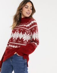 Abercrombie & Fitch oversized mock neck fairisle jumper in red snowflake | cosy winter knits