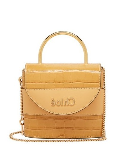 CHLOÉ Aby Lock crocodile-effect leather cross-body bag in beige ~ small luxury top handle handbag - flipped