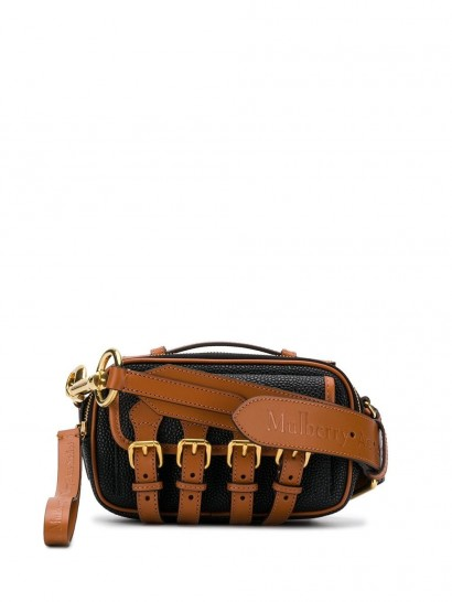 ACNE STUDIOS x Mulberry mini crossbody scotchgrain satchel bag in black and brown