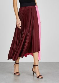 A.L.C. Grainger pink and burgundy satin skirt ~ colourblock skirts