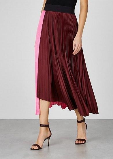 A.L.C. Grainger pink and burgundy satin skirt ~ colourblock skirts - flipped