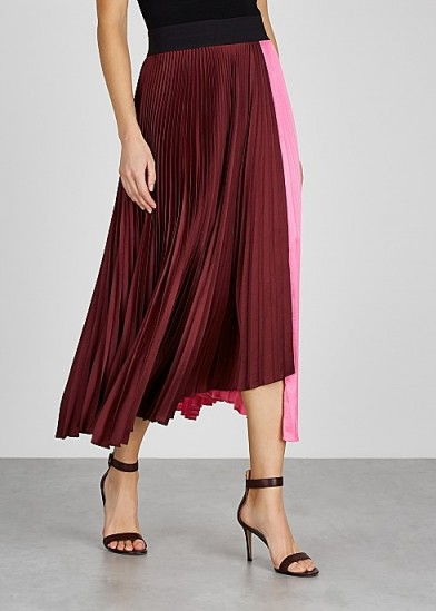 A.L.C. Grainger pink and burgundy satin skirt ~ colourblock skirts