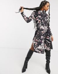 AllSaints anya wing print midi shirt dress in black