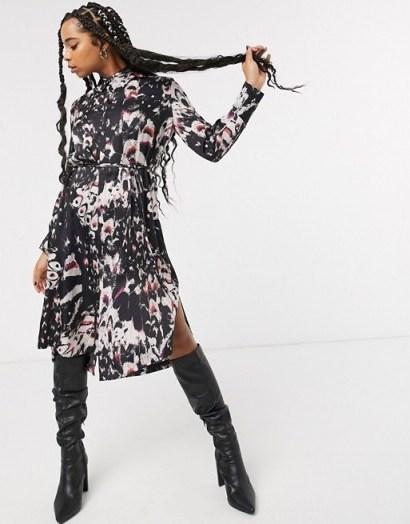 AllSaints anya wing print midi shirt dress in black - flipped