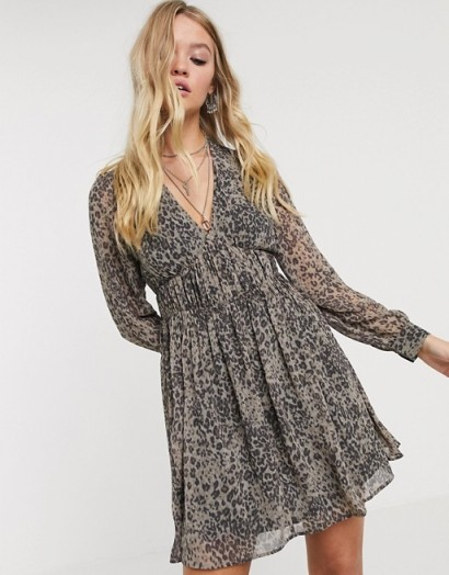 AllSaints kiana leopard patch mini dress / animal fit and flare