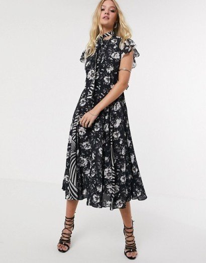 AllSaints kiti amapola printed shirt midi dress / flutter sleeve dresses - flipped