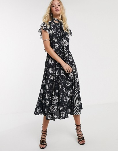 AllSaints kiti amapola printed shirt midi dress / flutter sleeve dresses