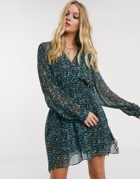 AllSaints nichola plume shirred wing print mini dress in opal-green