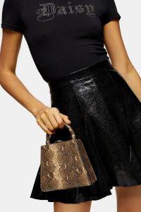 Topshop AMAL Snake Grab Bag in Natural / small reptile print handbag